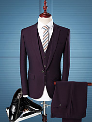 cheap -Tuxedos Tailored Fit / Standard Fit Notch Single Breasted One-button Wool / Polyester Plaid / Check / Solid Colored