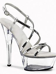 cheap -Women's Heels / Sandals Cross-Strap Sandals Stiletto Heel / Platform Sequin / Buckle / Plaid Glitter Club Shoes / Lucite Heel Spring / Summer Silver / Wedding / Party & Evening / Party & Evening