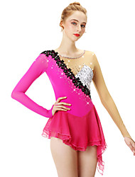 cheap -Figure Skating Dress Women's Girls' Ice Skating Dress Fuchsia Flower Asymmetric Hem Spandex Stretch Yarn Lace High Elasticity Professional Competition Skating Wear Handmade Fashion Long Sleeve Ice