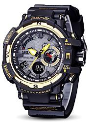 Недорогие -Муж. Спортивные часы электронные часы Японский Цифровой Стеганная ПУ кожа Черный 30 m Защита от влаги Календарь Секундомер Аналого-цифровые Кольцеобразный Мода - Красный Синий Черный / Белый