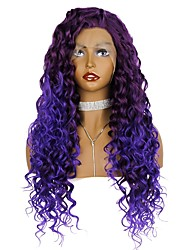 cheap -Synthetic Lace Front Wig Curly Loose Curl Free Part Glueless Lace Front Lace Front Wig Long Bright Purple Synthetic Hair 24 inch Women's Women Hot Sale Color GradientHigh Quality Purple EEWigs