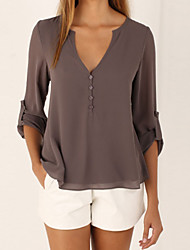 cheap -Women's Going out Weekend Casual Loose Blouse - Solid Colored Deep V Black / Summer