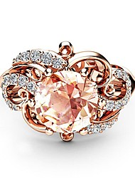 cheap -Women's Ladies Ring Diamond Cubic Zirconia Citrine 1pc Rose Gold Copper Rose Gold Plated Imitation Diamond Ladies Artistic Romantic Party Date Jewelry Hollow Out Petal Clouds Lovely