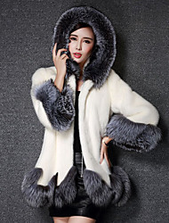 cheap -Long Sleeve Coats / Jackets Faux Fur Wedding / Party / Evening Women's Wrap With Color Block