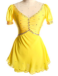 cheap -Figure Skating Dress Women's Girls' Ice Skating Dress Yellow Red Spandex Competition Skating Wear Solid Colored Short Sleeve Ice Skating Figure Skating