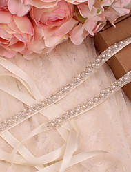 cheap -Satin / Tulle Wedding / Special Occasion Sash With Imitation Pearl Women's Sashes