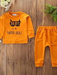 cheap -Baby Boys' Active / Basic Daily / Sports Print Print Long Sleeve Regular Cotton Clothing Set Orange / Toddler