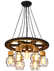 cheap -7-Light 60 cm Creative Chandelier Wood / Bamboo Industrial Painted Finishes / Wood Retro 110-120V / 220-240V