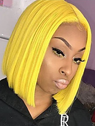 cheap -Synthetic Lace Front Wig Straight Bob Middle Part Lace Front Wig Blonde Short Yellow Synthetic Hair 10-14 inch Women's Heat Resistant Women Middle Part Blonde / Glueless