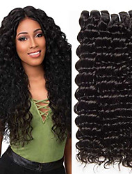 cheap -3 Bundles Brazilian Hair Deep Wave Remy Human Hair 100% Remy Hair Weave Bundles 300 g Natural Color Hair Weaves / Hair Bulk Human Hair Extensions 8-28 inch Natural Color Natural Black Human Hair
