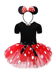 cheap -Kids Little Girls' Dress Polka Dot Solid Colored Daily Red Fuchsia Long Sleeve Basic Dresses