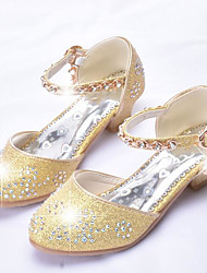cheap -Girls' Flower Girl Shoes Faux Leather Heels Toddler(9m-4ys) / Little Kids(4-7ys) / Big Kids(7years +) Rhinestone / Sequin Pink / Gold / Silver Spring &  Fall