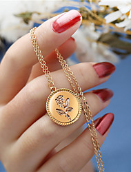cheap -Women's Pendant Necklace Charm Necklace Classic Roses Flower Ladies Simple Fashion Alloy Gold 56 cm Necklace Jewelry 1pc For Party / Evening Gift