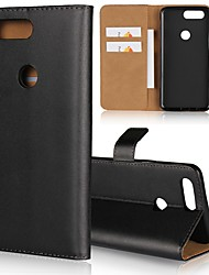 cheap -Case For OnePlus OnePlus 6 / One Plus 5 / OnePlus 5T Wallet / Card Holder / with Stand Full Body Cases Solid Colored Hard Genuine Leather