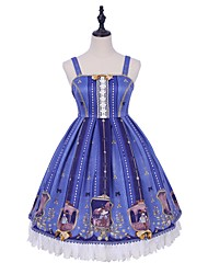 cheap -School Lolita Casual Lolita Traditional Dress Female Lace Japanese Cosplay Costumes Blue Lace Sleeveless Sleeveless Knee Length