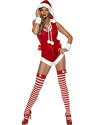 cheap -Uniforms Costume Christmas Dress Santa Clothes Adults Highschool Women's One Piece Christmas Christmas Halloween Carnival Festival / Holiday Spandex Polyester Red Carnival Costumes Solid Colored Sexy