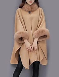 cheap -Women's Crew Neck Cloak / Capes Long Solid Colored Daily Streetwear Fall Winter Wool Camel / Gray M / L / XL