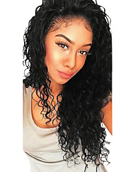 cheap -Human Hair Glueless Lace Front Lace Front Wig with Baby Hair style Brazilian Hair Deep Wave Wig 130% 250% Density Dark Roots Natural Hairline For Black Women 100% Virgin Women's Medium Length Long