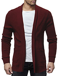 cheap -Men's Daily / Going out Basic / Street chic Solid Colored Long Sleeve Regular Cardigan Sweater Jumper, Shirt Collar Spring / Fall Wine / Dark Gray / Khaki M / L / XL
