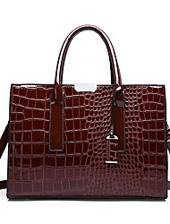cheap -Women's Zipper PU Top Handle Bag Crocodile Black / Wine / Red / Fall & Winter
