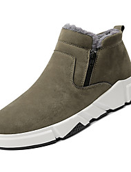 cheap -Men's Snow Boots PU Winter Casual Boots Warm Booties / Ankle Boots Black / Gray / Khaki