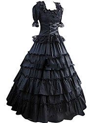 cheap -Vintage Gothic Victorian Medieval 18th Century Dress Party Costume Masquerade Women's Satin Costume Black Vintage Cosplay Short Sleeve Floor Length Plus Size Customized