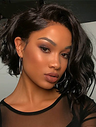 cheap -Remy Human Hair Full Lace Lace Front Wig Bob style Brazilian Hair Body Wave Natural Wave Natural Black Wig 130% Density with Baby Hair Soft Women Easy dressing Best Quality Women's Short Human Hair
