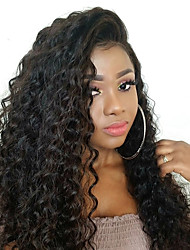 cheap -Remy Human Hair Human Hair 6x13 Closure Lace Front Wig Deep Parting Side Part style Brazilian Hair Wavy Deep Wave Wig 250% Density with Baby Hair New Arrival Hot Sale Thick Natural Hairline Natural