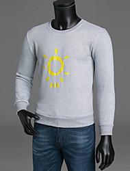 abordables -Homme Basique Pantalon - Couleur Pleine Noir / Col Arrondi / Manches Longues