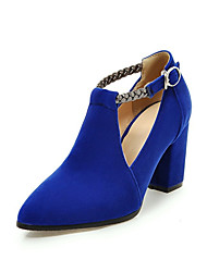 cheap -Women's Synthetics Spring & Summer Heels Chunky Heel Pointed Toe Buckle Black / Red / Blue / Party & Evening