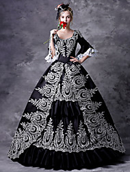 cheap -Maria Antonietta Rococo Victorian Medieval Dress Masquerade Women's Lace Costume Black Vintage Cosplay Party Prom 3/4 Length Sleeve Ball Gown Plus Size Customized