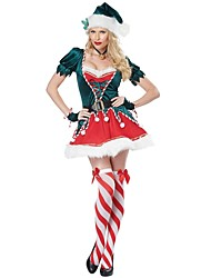 cheap -Santa Clothes Women's Adults' Highschool Halloween Christmas Christmas Halloween Carnival Festival / Holiday Polyster Outfits Ink Blue Solid Colored Christmas