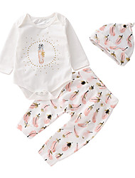 cheap -Baby Girls' Basic Daily Solid Colored Long Sleeve Regular Clothing Set White / Toddler