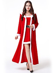cheap -Santa Clothes Adults Women's Halloween Christmas Christmas Halloween Carnival Festival / Holiday Polyster Red Carnival Costumes Solid Colored Christmas