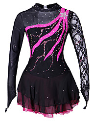cheap -Figure Skating Dress Women's Girls' Ice Skating Dress Black Yellow Spandex Lace Competition Skating Wear Handmade Solid Colored Fashion Long Sleeve Ice Skating Figure Skating