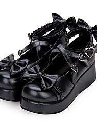 cheap -Women's Lolita Shoes Sweet Lolita Princess Lolita Wedge Heel Shoes 5 cm Black White Pink PU Leather / Polyurethane Leather Halloween Costumes