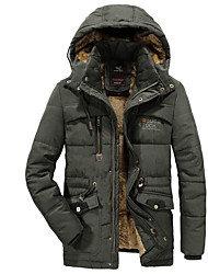 cheap -Men's Daily Basic Solid Colored Plus Size Regular Padded, Polyester Long Sleeve Winter Hooded Army Green / Blue / Khaki US32 / UK32 / EU40 / US34 / UK34 / EU42 / US36 / UK36 / EU44 / Slim