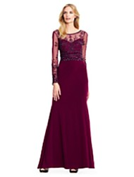cheap -Mermaid / Trumpet Mother of the Bride Dress Sparkle & Shine Bateau Neck Floor Length Chiffon Lace Long Sleeve with Lace 2020 / Illusion Sleeve