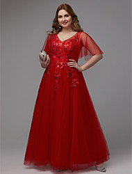 cheap -A-Line Sparkle & Shine Prom Dress V Neck Half Sleeve Floor Length Lace Tulle with Sequin Appliques 2020