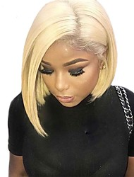 cheap -Human Hair 360 Frontal Lace Front Wig Bob Layered Haircut Short Bob Gaga style Brazilian Hair Natural Straight Silky Straight Blonde Wig 150% Density with Baby Hair Women Hot Sale Natural Hairline
