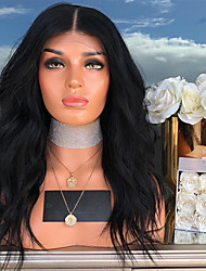 cheap -Synthetic Lace Front Wig Body Wave Kardashian Style with Baby Hair Lace Front Wig Black Dark Black Synthetic Hair 24 inch Women's Heat Resistant Black Wig Long / Yes