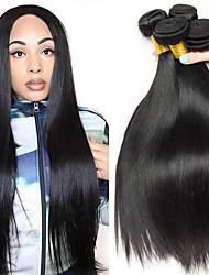 cheap -4 Bundles Peruvian Hair Straight Human Hair Unprocessed Human Hair Natural Color Hair Weaves / Hair Bulk Extension Bundle Hair 8-28 inch Natural Color Human Hair Weaves Soft Silky Best Quality Human