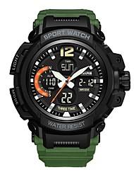 cheap -Men's Sport Watch Digital Watch Japanese Digital Silicone Black / Green 30 m Water Resistant / Waterproof Calendar / date / day Dual Time Zones Analog - Digital Fashion - Black Green / Stopwatch