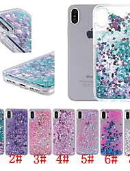 cheap -Case For Apple iPhone XS / iPhone XR / iPhone XS Max Shockproof / Flowing Liquid / Transparent Back Cover Heart / Glitter Shine Hard PC