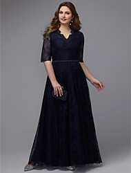 cheap -A-Line V Neck Floor Length Lace Plus Size / Blue Formal Evening / Wedding Guest Dress with Beading 2020