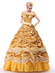 cheap -Princess Belle Dress Cosplay Costume All Movie Cosplay Yellow Dress Petticoat Ribbons Christmas Halloween New Year Satin