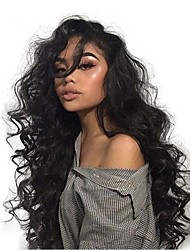 cheap -Remy Human Hair Full Lace Lace Front Wig Asymmetrical Wendy style Brazilian Hair Body Wave Natural Wave Natural Black Wig 130% 150% 180% Density with Baby Hair Soft Women Easy dressing Best Quality