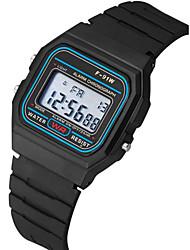 Недорогие -Для пары Наручные часы Цифровой силиконовый Черный Календарь Секундомер Фосфоресцирующий Цифровой Кольцеобразный минималист - Черный Один год Срок службы батареи / SSUO 377