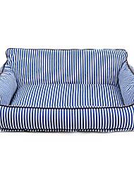 cheap -Dog Cat Mattress Pad Bed Sofa Cushion Bed Blankets Lounge Sofa Portable Warm Soft Pet Mats & Pads Fabric Stripes Red Blue