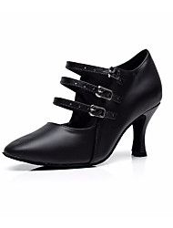 cheap -Women's Modern Shoes / Ballroom Shoes PU Ankle Strap Sandal / Heel Buckle Flared Heel Customizable Dance Shoes Black / Performance